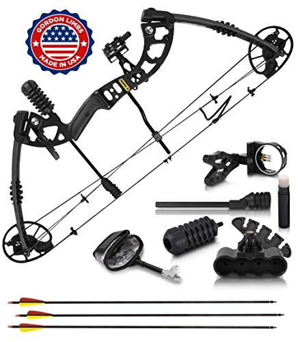 2020 Compound Bow and Arrow for Adults and Teens - Hunting Bow with Gordon Limbs Made in USA- Fully Adjustable for Women and Youth 30-70 Lbs, 23.5-30.5 In- 320 FPS Speed - 5-Pin Sight, Quiver - Right