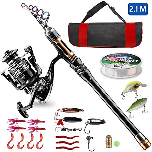 BlueFire Fishing Rod Kit, Carbon Fiber Telescopic Fishing Pole and Reel Combo with Spinning Reel, Line, Lure, Hooks and Carrier Bag, Fishing Gear Set for Beginner Adults Saltwater Freshwater(2.1M)