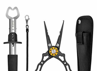 ZACX Fishing Pliers, Fish Lip Gripper Upgraded Muti-Function Fishing Pliers Hook Remover Split Ring,Fly Fishing Tools Set,Ice Fishing,Fishing Gear,Fishing Gifts for Men (Package B)