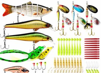 Fishing Lures Baits Tackle Including Multi Jointed swimbaits, Spinnerbaits, Topwater Lures, Plastic Worms, Jigs,Minnow,Vib and More Fishing Gear Lures kit set for Bass,133Pcs Fishing lure Tackle
