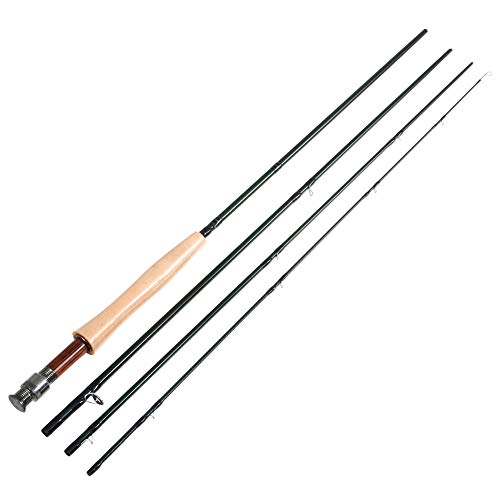 Mounchain 4 Pieces Fly Fishing Rod with IM7 Carbon Fiber Blank, Smooth Chromed Guides, 9ft 5wt Fish Rod