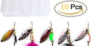 kingforest 10pcs Fishing Lures Spinnerbait for Bass Trout Salmon Walleye Hard Metal Spinner Baits Kit with Tackle Box